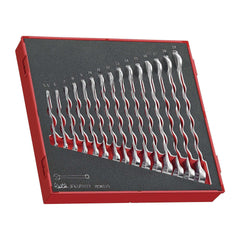 Teng Tools - 15 Piece Metric Combination Wrench Set 8 to 19mm in EVA Foam Tray - TEN-O-TED6515 - Teng Tools USA