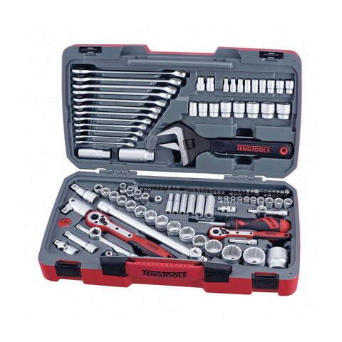 "Teng Tools - 127 Piece 1/4"", 3/8"" and 1/2"" Drive Socket Set Metric and SAE - TEN-O-TM127 - Teng Tools USA"
