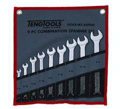 Teng Tools 6509AF - 9 Piece SAE Combination Spanner Set 1/4 to 3/4 Inch - Teng Tools USA