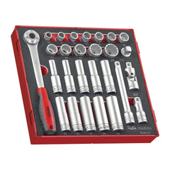 Teng Tools - 27 Piece 1/2 inch Drive Socket Set in EVA Tray - TEN-O-TED1227 - Teng Tools USA