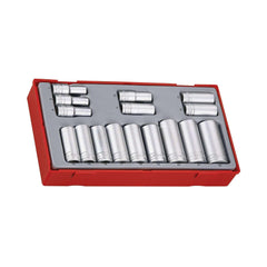 Teng Tools - 16 Piece 3/8 inch Drive Deep Metric Socket Set 7 to 22mm - TEN-O-TT3816 - Teng Tools USA