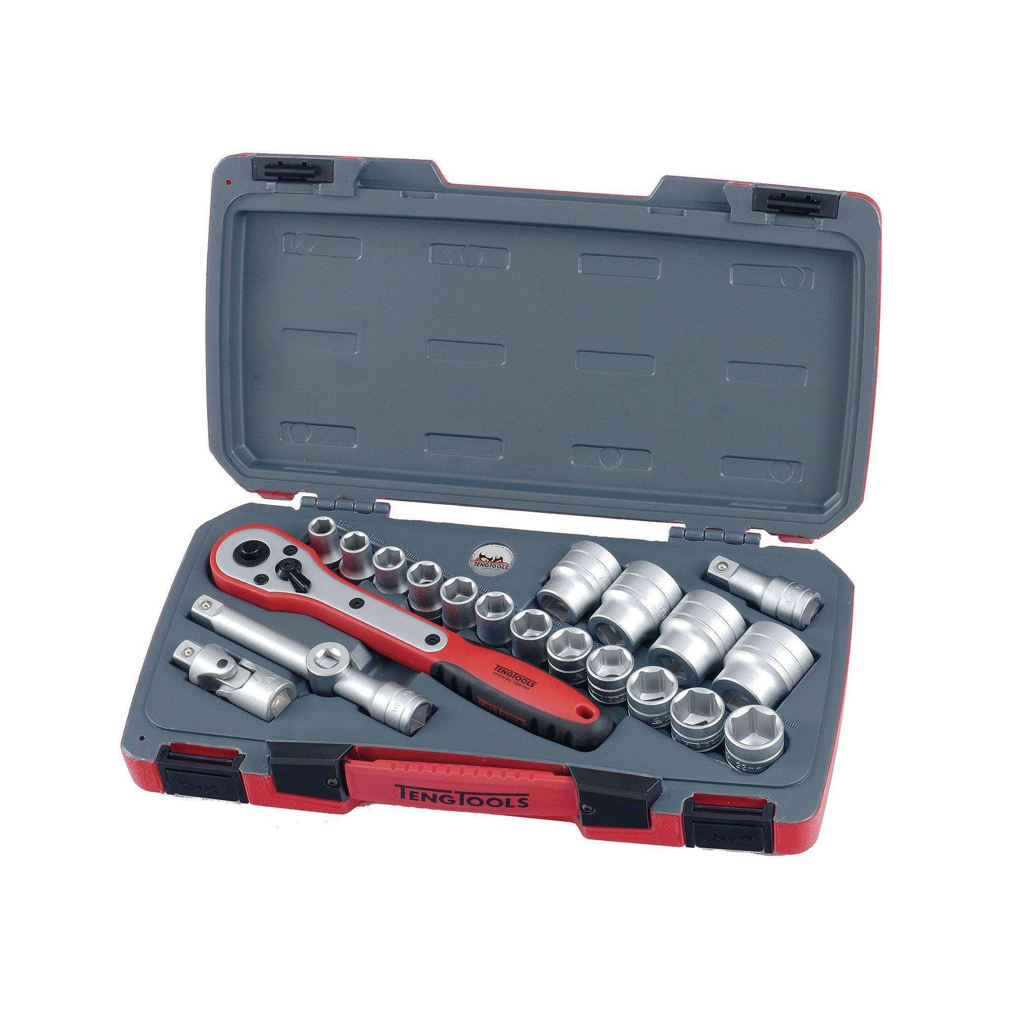 Teng Tools - 21 Piece 1/2 inch Drive Regular 6 Point Socket Set - TEN-O-T12216 - Teng Tools USA