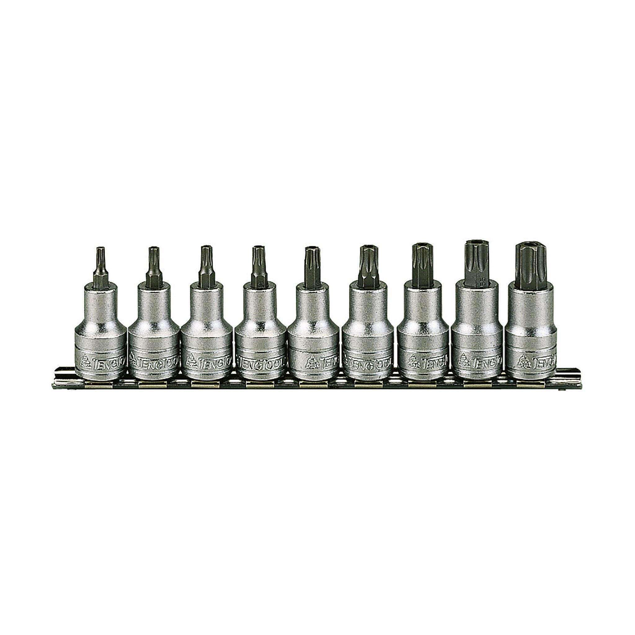 Teng Tools M1213TX - 9 Piece 1/2 Inch Drive TX Bit Socket Set Clip Rail - Teng Tools USA