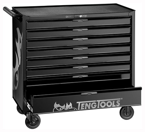 Teng Tools 37 Inch Wide 8 Drawer 'Limited Edition' Black Roller Cabinet Workstation - TCW208NBK