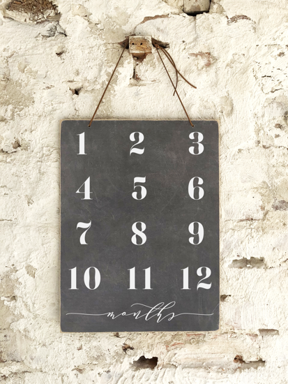 12 Month Slate Sign - 12x16 - T1000