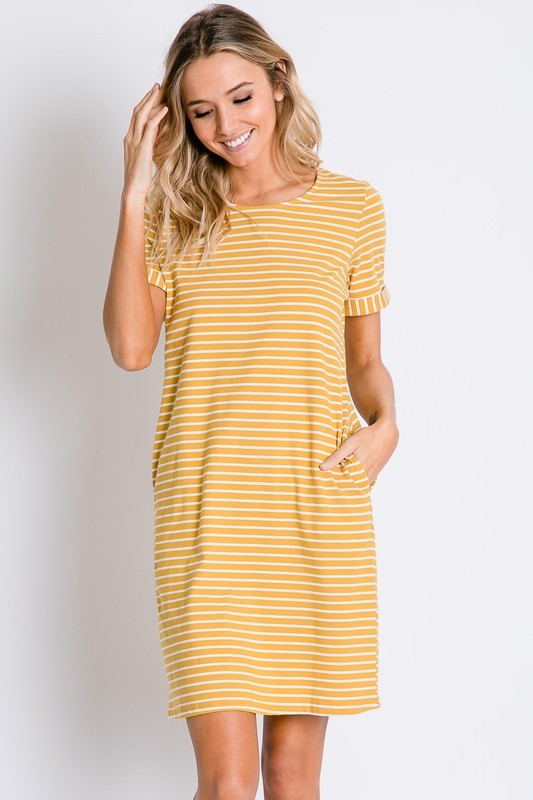 Mustard Stripe Tee Dress - T326