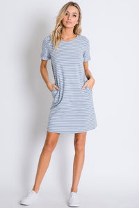 Light Blue Stripe Tee Dress - T325