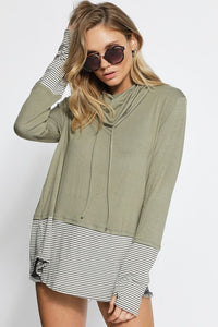 Olive Stripe Cowl Neck Top - T311