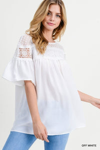 White Lace Bell Sleeve Top - T468