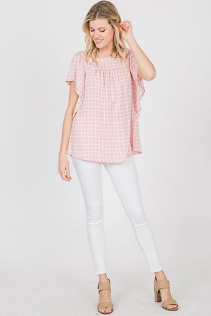 Pink Check Blouse - T426