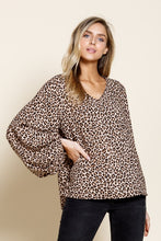 Animal Print Balloon Sleeve Blouse - T475