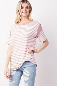 Mauve Stripe Top - T401