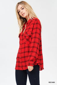 Red and Black Plaid Button Up - T784