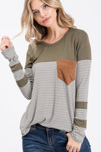 Olive Stripe Top with Suede Pocket - T831