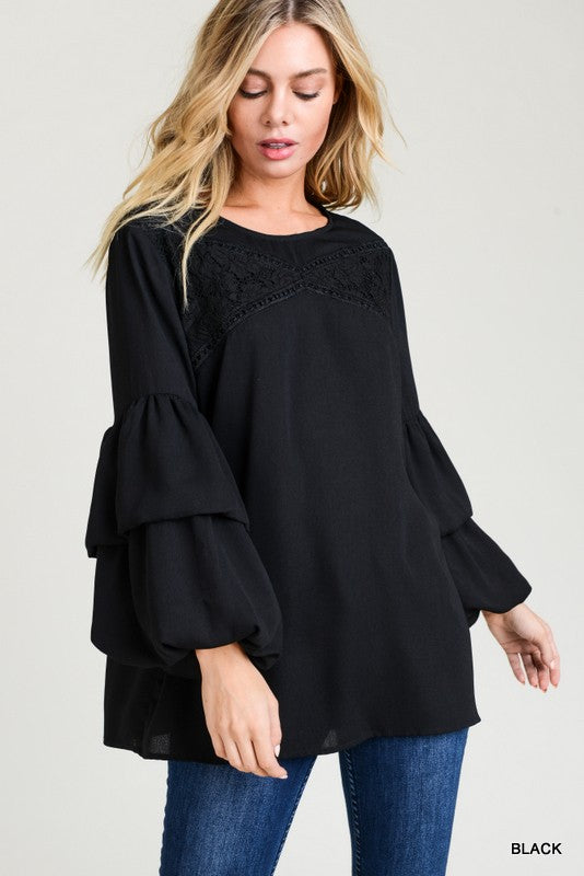 Black Puffer Sleeve Blouse - T320