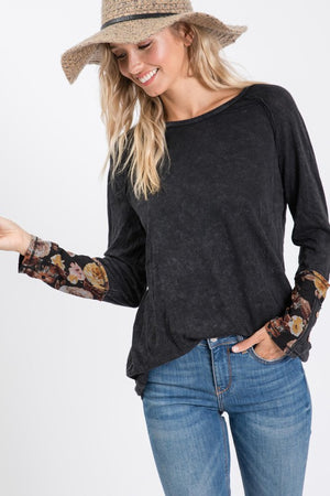 Floral Mineral Wash Top- T907