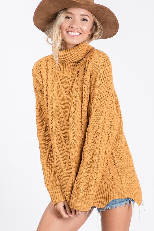 Mustard Scallop Turtleneck - T1057