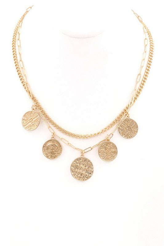 Double Layer Coin Charm Necklace