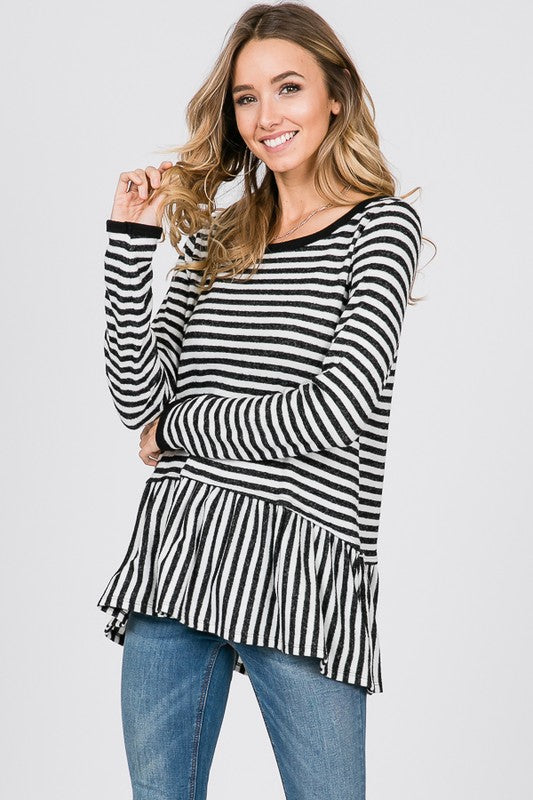 Striped Peplum Top - T454