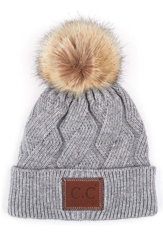 C.C Cable Beanie (Light Grey)