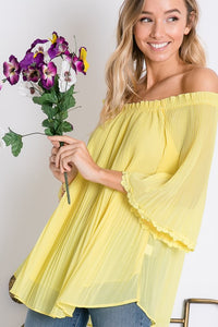 Yellow Off the Shoulder Bell Sleeve Top - T382