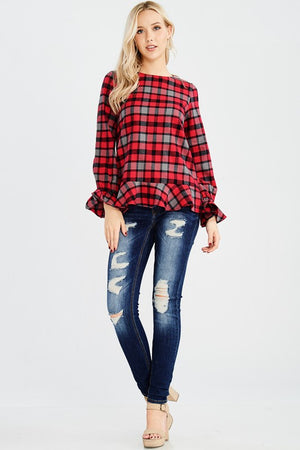 Plaid Ruffle Top - T162