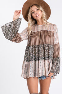 Taupe Multi Print Top - T1058