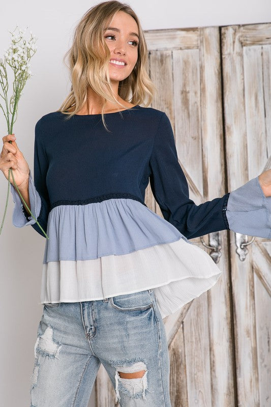 Navy Tiered Ruffle Top - T385