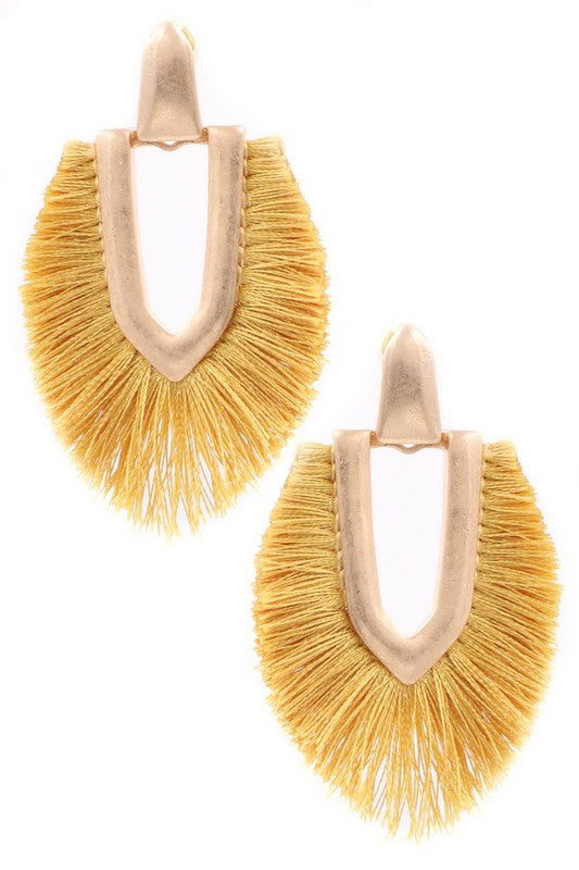 Fringe Drop Earrings (Mustard)