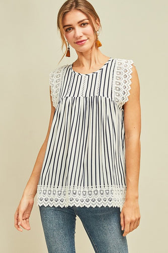 Striped Lace Top - T379