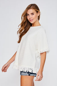 Fringe Knit Top - T442