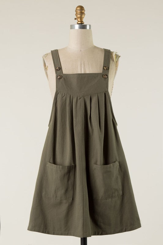 Olive Overall Dress - T411