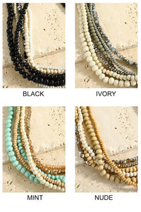 Black Multi-Layered Beaded Necklace