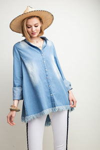 Denim Wash Button Down Tunic - T435