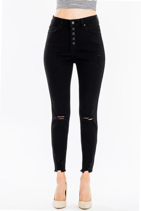 Black Distressed Denim - T476