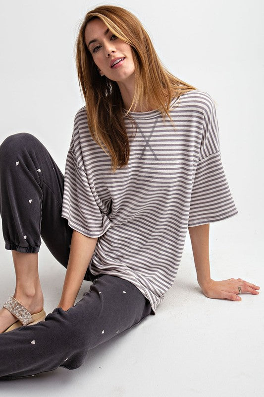 Oversized Stripe Top - T438