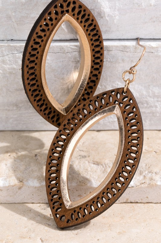 Brown Wood Earrings