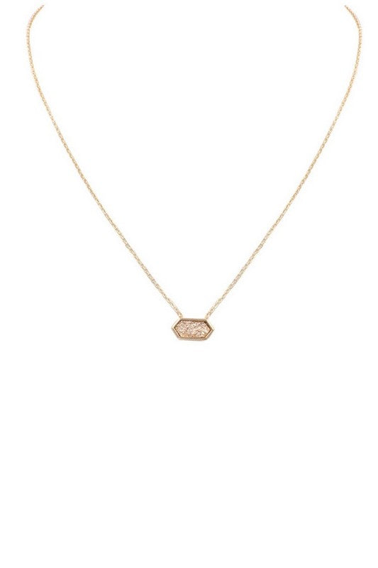 Rose Gold Druzy Stone Necklace