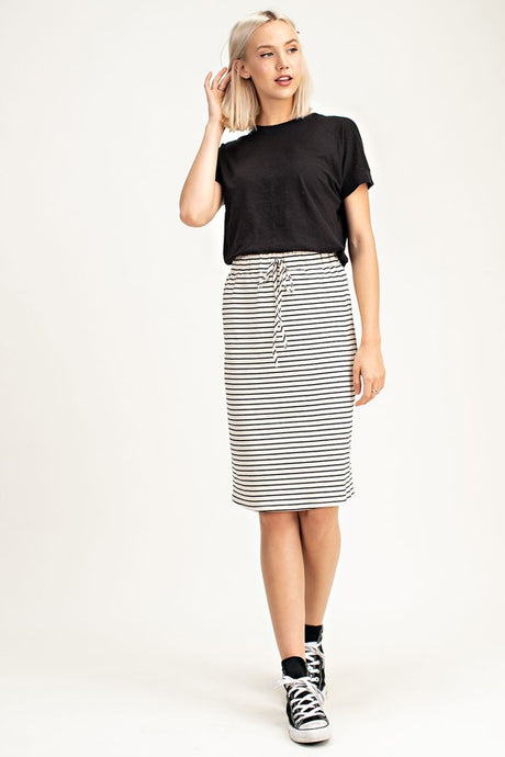 Navy Stripe Midi Skirt- T471