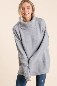 Blue Grey Chunky Oversize Sweater