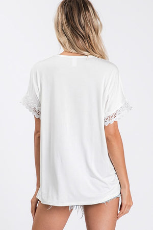 White Lace Detail Top- T1068