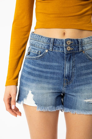 Distressed High Rise Shorts