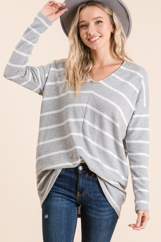 Heather Grey Stripe V-neck