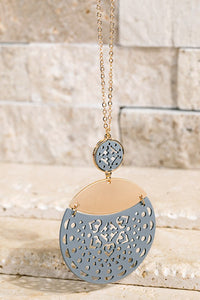 Grey Laser Cut Necklace