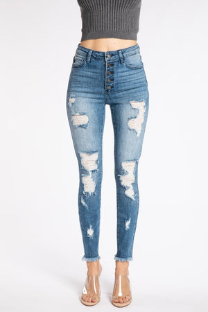 Button Fly Distressed Denim