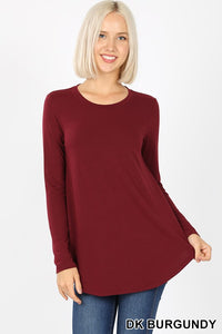 Burgundy Round Neck Long Sleeve Tee- T832
