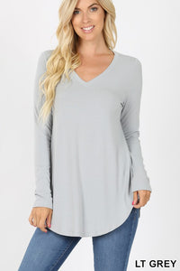 Long Sleeve V-neck (Heather Grey)