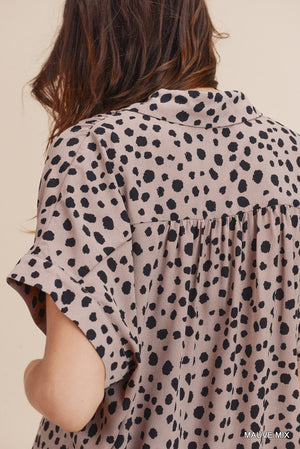 Mauve Polka Dot Button Up