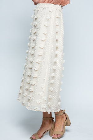 Natural Swiss Dot Midi Skirt