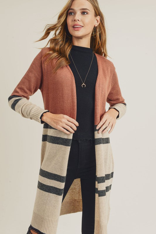 Rust Block Cardigan